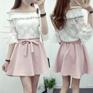 韓国ワンピース❤オフショルダーレース花柄に可愛いピンクのスカートでフェミニン&ガーリーのミニワンピ!