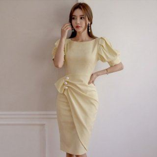 韓国ワンピース❤大粒パールが上品な女性を演じます!アシンメトリーで綺麗系好きの方に