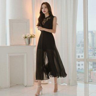 韓国即納有ワンピース❤首元から背中へのレースとシースルーロングスカートがセクシーな個性的な形!
