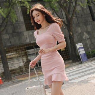 韓国ワンピース❤ピンクが可愛いマーメードミニワンピ!