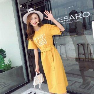 韓国ワンピース❤ベルトがお洒落なロングTシャツワンピース!ベルト有無しコーデ行けます!