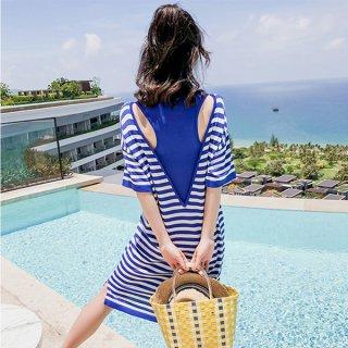 韓国ワンピース❤夏のリゾートボーダーワンピ!これ着たあなたをビーチが待っている!