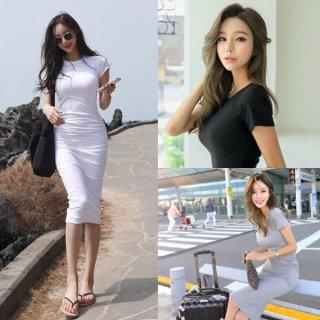 韓国ワンピース❤カジュアルセクシーなこの夏大活躍の大人タイトワンピ!