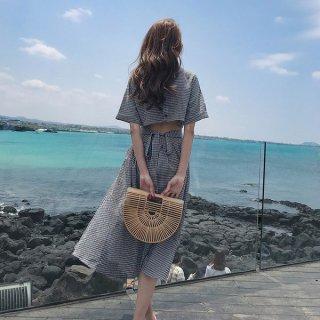 韓国ワンピース❤バックコンシャスで淡い色合いの夏真っ盛りワンピ!