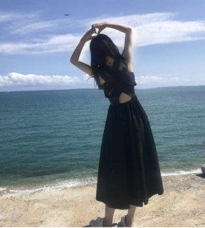 韓国ワンピース❤バックコンシャスAラインフレアの純白ガーリーな清楚ワンピ