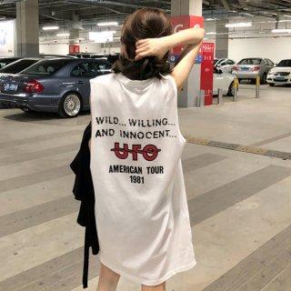 韓国ワンピース❤スポーティーなノースリーブストリート系Tシャツワンピ