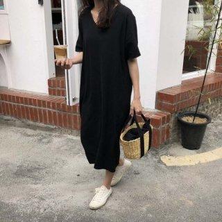 韓国ワンピース❤ダボダボ韓国ファッションシンプルロングワンピ!