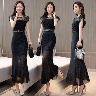 韓国ワンピース❤セレブでエレガント大人女子なスタイルを表現してくれるマーメードなロングワンピース!