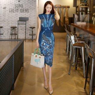 韓国ワンピース❤レトロ柄が特徴な上品タイトワンピ!男の子考えるとわかると思いますが、実は男性は、統計学的に青色が好きなのが実態なので活用してください!