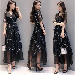 韓国ワンピース❤カシュクールでセレブチックな大人韓国ドレス!