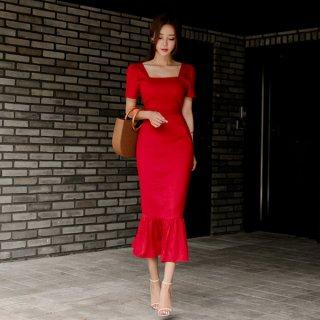 韓国ワンピース❤真っ赤で上品可愛いマーメードタイトワ