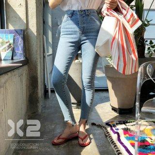 韓国韓国ブランド❤X2 韓国ルート正規品 アシンメトリーカット裾スキニー