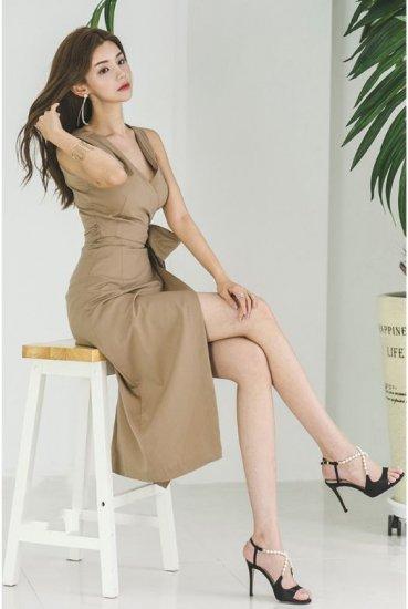 韓国ワンピースのひざ丈・ミドル丈・ミディ丈・ニーロング丈