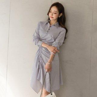 韓国ワンピース❤襟付きストライプでシャツワンピみたいな個性的アシンメトリー!