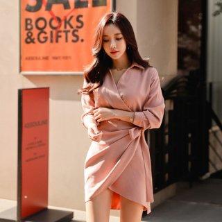 韓国ワンピース❤カシュクールで可愛いカッコいい!細身のパンツとも合いそうなピンクワンピ!