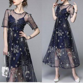 韓国ワンピース❤星柄のスパンコールが素敵なシースルーなお呼ばれ韓国ドレス