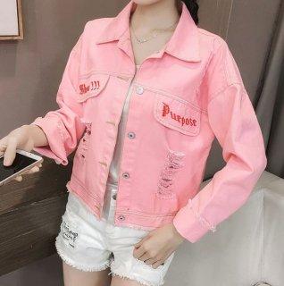 韓国デニムジャケット❤ピンクが韓国ファッションの可愛い過ぎるGジャン!