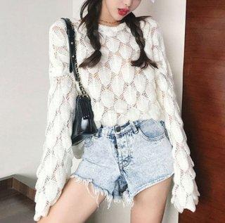韓国トップス❤ダボダボシースルー可愛い長袖、ラウンドネック秋のセーターシャツ