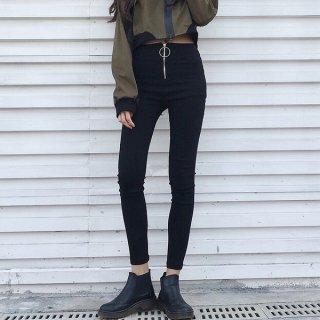 韓国スキニーパンツ❤韓国ファッション人気の定番ブラックスキニー!