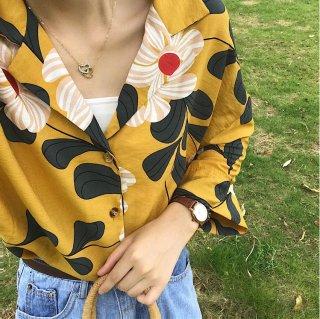 韓国ブラウス❤トップス 花柄可愛い9分丈のシャツ!