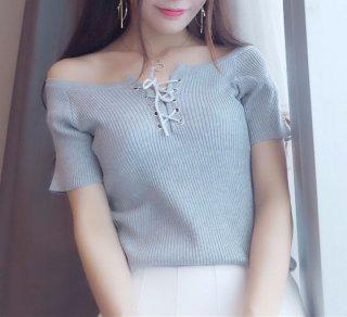 韓国トップス❤胸の編み上げがセクシー♪オフショルダートップス