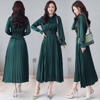 韓国ワンピース❤上品きれいめコーデに使えるプリーツスカートの大人ロングワンピ
