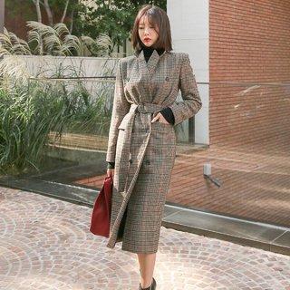 韓国アウター❤人気チェック柄のトレンチコート!