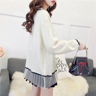 韓国カーディガン❤袖と裾がちらっとシースループリーツな感じになっているカーディガン