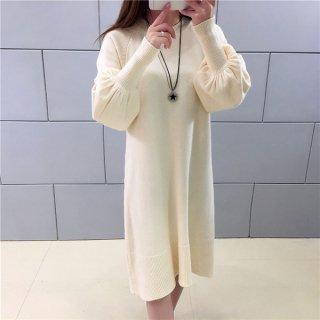 韓国ワンピース❤袖がちょっぴりバルーンで可愛いシンプルニットワンピース