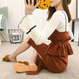 韓国ワンピース❤フレア袖とキャミソールみたいなトップスとニットスカートのセットアップ