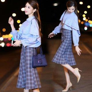 韓国ワンピース❤ブルーが鮮やかなフリルブラウスとチェック柄のスカートのセットアップワンピ