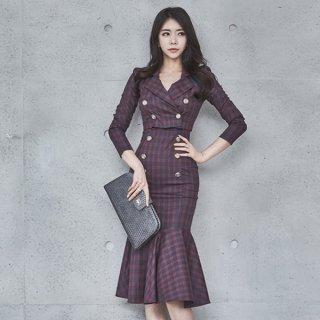 韓国ワンピース❤トレンチ風ジャケットとセクシーキャミソールマーメードスカートワンピの組み合わせ