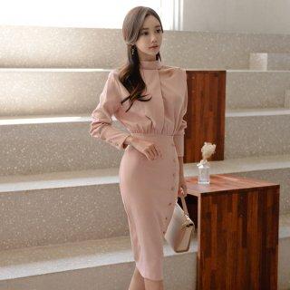 韓国ワンピース❤上品清楚なホルターネックのタイトワンピースドレス