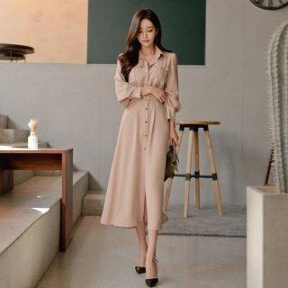 韓国ワンピース❤きれいめ上品なベージュの可愛いカッコいいシャツワンピ