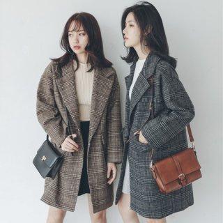 韓国アウター❤チェック柄、手軽に着れて可愛い人気のコート