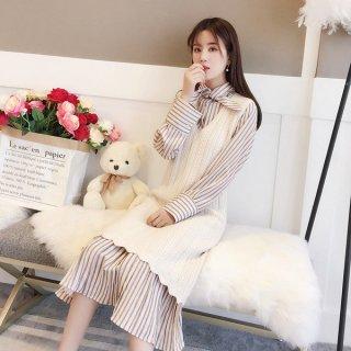 韓国ワンピース❤ニットベストワンピと襟が可愛いストライプワンピのセット
