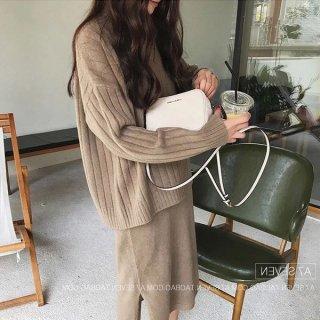 韓国ワンピース❤セットアップ ノースリーブニットワンピにトップスセーターが付いてお得可愛い