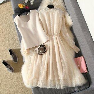 韓国ワンピース❤韓国ドレス ドット可愛いシフォンドレスにベストのついた、可愛いフェミニンガーリーワンピ