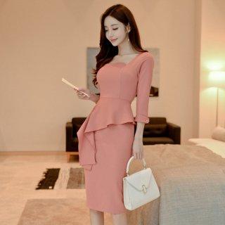 韓国ワンピース❤韓国ドレス アシンメトリーなフリルが可愛い清楚上品タイトワンピ