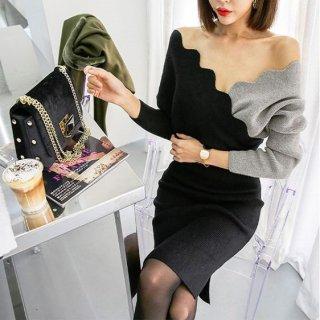 韓国ワンピース❤韓国ドレス バイカラーで胸元からデコルテあたりがセクシーなタイトワンピ
