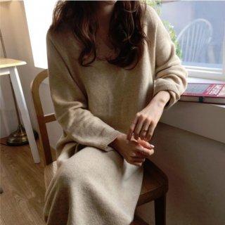 韓国ワンピース❤無地のふんわりやさしい韓国ファッションロングワンピ