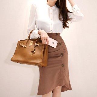韓国ワンピース❤上品ブラウスとマーメードスカートのセットツーピース 通勤・オフィスなんかに・・