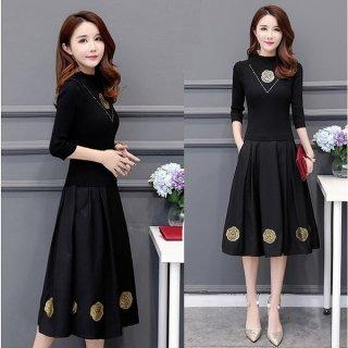 韓国ワンピース❤バラの花が可愛い大人のブラックフレアワンピースドレス