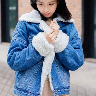 韓国アウター❤ボア付きGジャン秋冬に使えるあったかいデニムジャケット