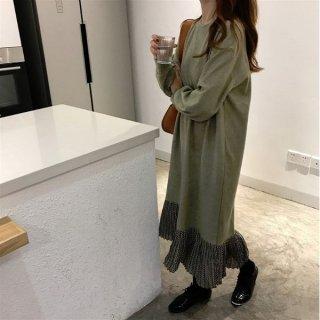 韓国ワンピース❤長袖 裾プリーツのカジュアルロングワンピース