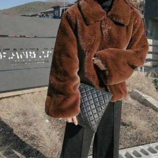 韓国ボアジャケット❤アウター モコモコがとっても可愛い襟付きファージャケット