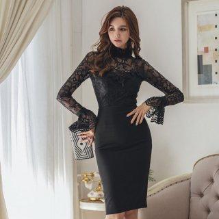 韓国即納Lワンピース❤韓国ドレス エレガントセクシーな花柄シースルーのタイトワンピ