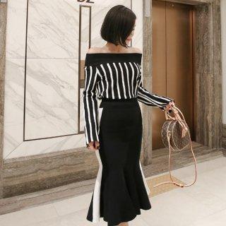 韓国ワンピース❤バイカラー 縦縞オフショルトップスとマーメードブラックスカートのツーピース
