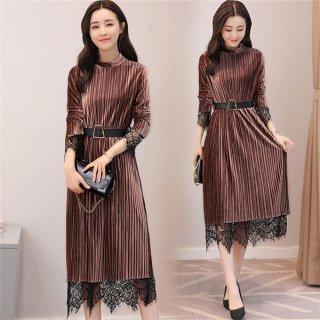 韓国ワンピース❤韓国ドレス 全体プリーツにちらっと見えるレースが可愛い大人ワンピース