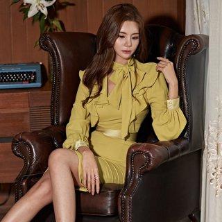 韓国ワンピース❤韓国ドレス 襟や胸元フリルに可愛いさある大人タイトワンピース